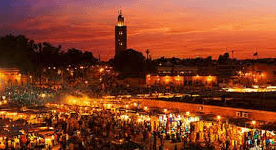 Sunset in lively Jemaa El Fnaa Marrakech