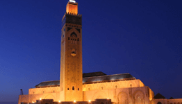 Hassan II Mosque Casablanca illuminated in the evening
