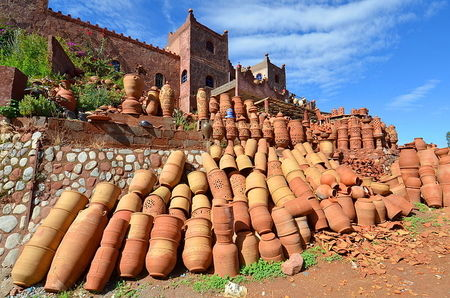 outdoors pottery shop in ourika valley morocco